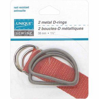 """Metal D-Rings (1 1/2"""") - Gunmetal"""